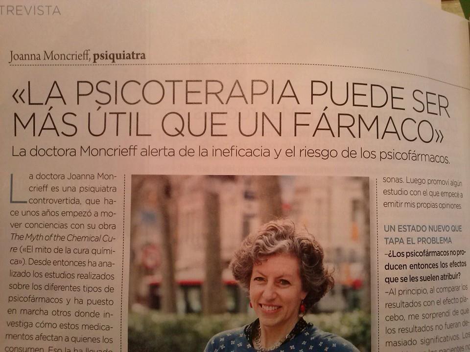 """ENTREVISTA A JOANNA MONCRIEFF: """"La psicoterapia puede ser más útil que un fármaco"""""""